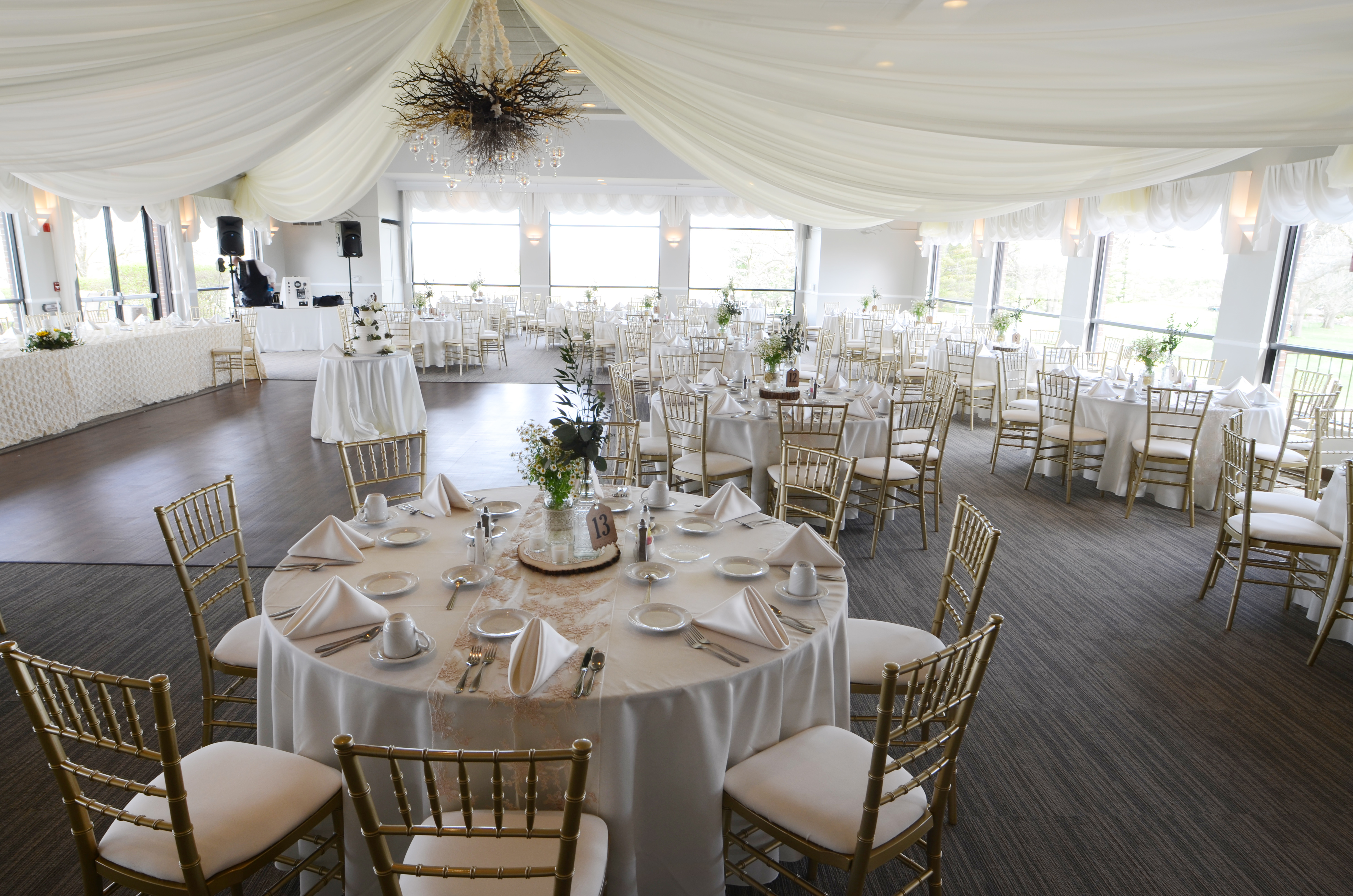 Photo of the Mystic Creek banquet room set up for a wedding.